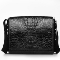 High Quality Crocodile Leather Messenger Bag RL041 Black