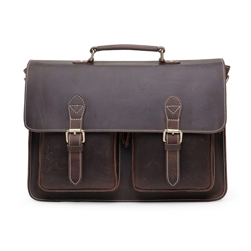 Luxury Designer Dark Brown Leatehr Men Messenger Bag RL028
