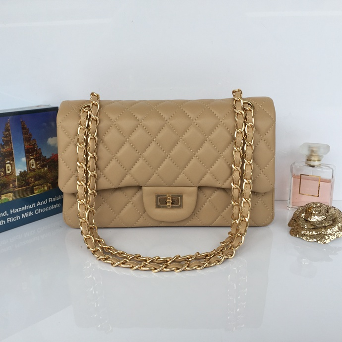 Wholesale Classic Flap Bag Apricot Sheepskin Leather LH00001 Gold