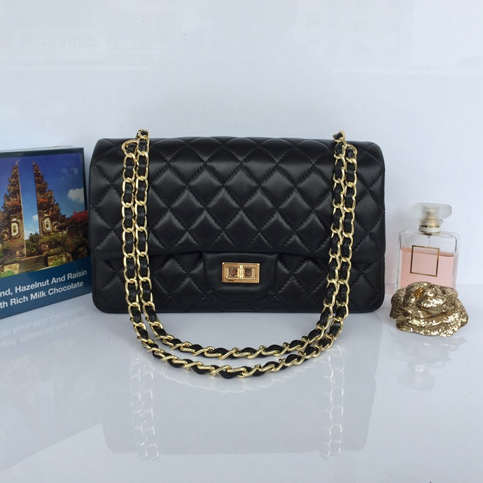 Wholesale Classic Flap Bag Black Sheepskin Leather LH00001 Gold