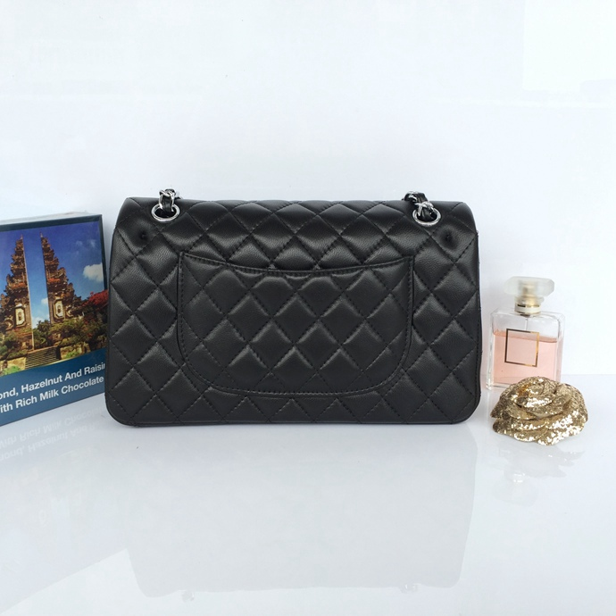Wholesale Classic Flap Bag Black Sheepskin Leather LH00001 Silver