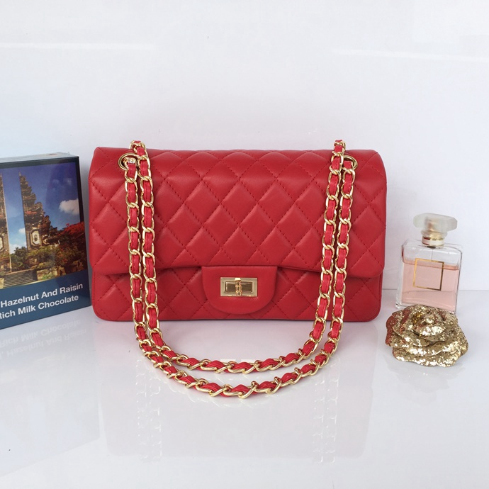 Wholesale Classic Flap Bag Red Sheepskin Leather LH00001 Gold