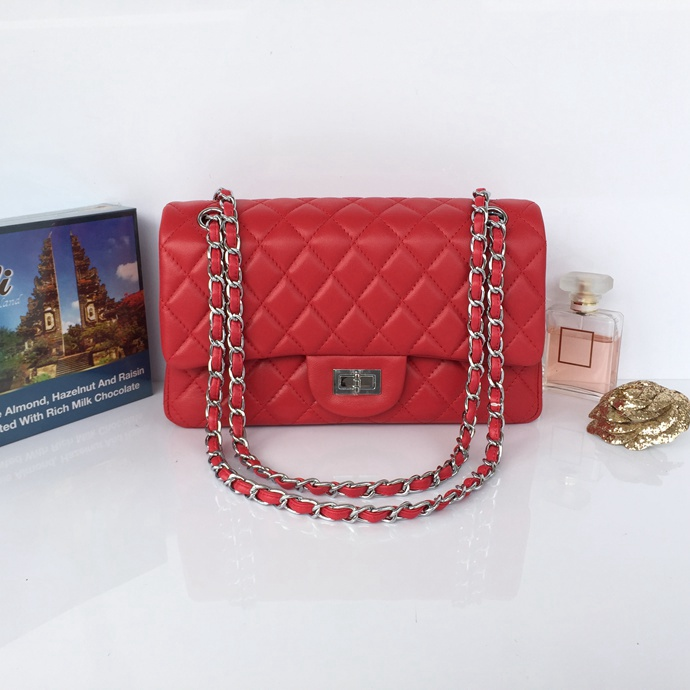 Wholesale Classic Flap Bag Red Sheepskin Leather LH00001 Silver