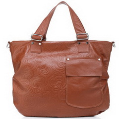 Cheap Bag Cowhide Embossed Leather Tote Brown RL493