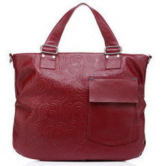 Cheap Bag Cowhide Embossed Leather Tote Red RL493