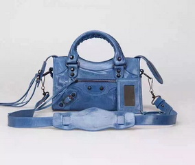 New Style mini Classic First Bag Blue Leather B300295 Black