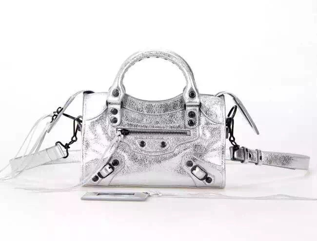 New Style mini Classic First Bag Silver Leather B300295 Black