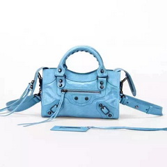 New Style mini Classic First Bag SkyBlue Leather B300295 Black