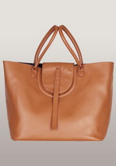 Brand Designer Tote Bag Calfskin Leather Brown