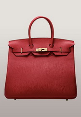 Essential Jane 35CM Tote Bag Leather Red Gold Hardware