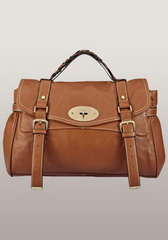 Famous Lady Large Leather Satchel Brown