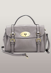 Famous Lady Medium Leather Satchel Sliver