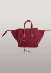 Famous Style Suede Leather Tote Bag Burgundy
