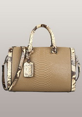 Fashion Croco Leather Top Handle Bag Beige
