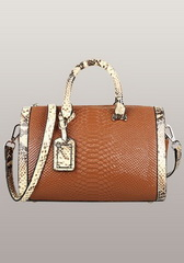 Fashion Croco Leather Top Handle Bag Brown