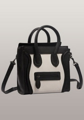 Fashion Luggage Mini Tote Smooth Leather White And Black