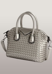 Wholesale Woven Leather Small Bag Silver
