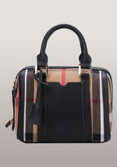 Brand Boston Leather Check Mini Bag Black