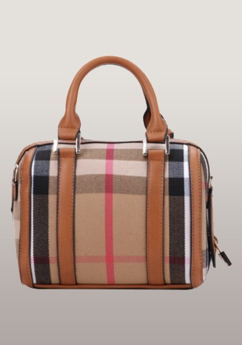 Brand Boston Leather Check Mini Bag Brown