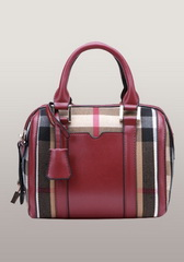 Brand Boston Leather Check Mini Bag Burgundy