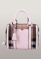 Brand Boston Leather Check Mini Bag Pink
