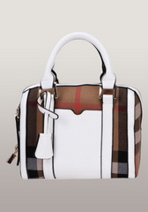 Brand Boston Leather Check Mini Bag White