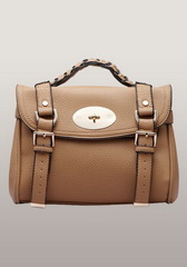 Classic Alex Calfskin Leather Small Satchel Camel