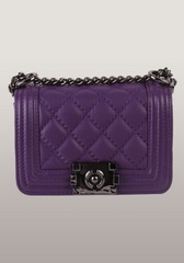 Classic Sheepskin Leather Medium Flap Shoulder Bag Purple