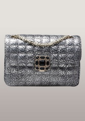 Designer Flap Mini Gemstone Crinkled Leather Shoulder Bag Sliver