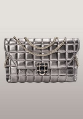 Fahsion Flap Sheepskin Leather Clutch Sliver
