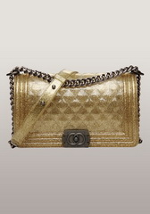 Famous Iridescent Leather Flap Shoulder Bag Gold