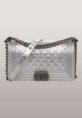 Famous Iridescent Leather Flap Shoulder Bag Sliver