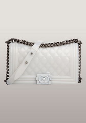 Famous Iridescent Leather Flap Shoulder Bag White