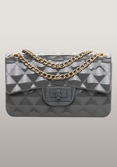 High Quality Patent Leather Mini Flap Shoulder Bag Dark Grey