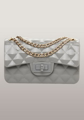 High Quality Patent Leather Mini Flap Shoulder Bag Grey