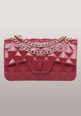 High Quality Patent Leather Mini Flap Shoulder Bag Red