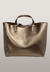 Luxury Calfskin Leather Shopper Bag Bronze
