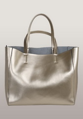 Luxury Calfskin Leather Shopper Bag Gold