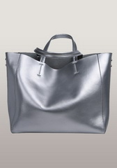Luxury Calfskin Leather Shopper Bag Sliver