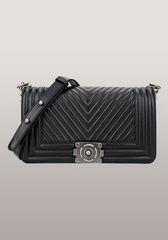 New Fashion V Shape Quilted Medium Leather Bag Black