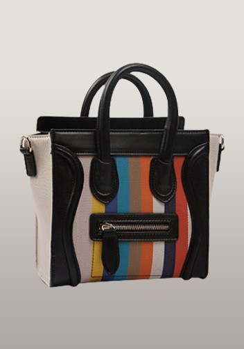 Rainbow Mini Tote In Leather With Canvas Black