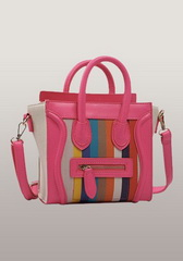 Rainbow Mini Tote In Leather With Canvas Rose