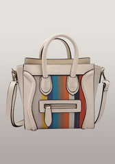 Rainbow Mini Tote In Leather With Canvas White