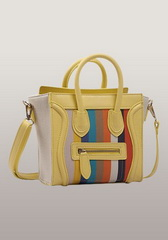 Rainbow Mini Tote In Leather With Canvas Yellow