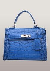 Top Fashion 25CM Shoulder Bag Croco Leather Blue