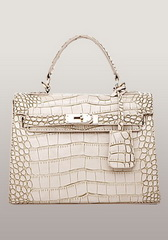 Top Fashion 25CM Shoulder Bag Croco Leather Cream