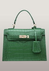 Top Fashion 25CM Shoulder Bag Croco Leather Green