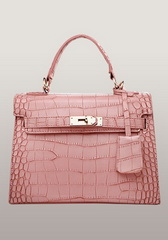 Top Fashion 25CM Shoulder Bag Croco Leather Pink